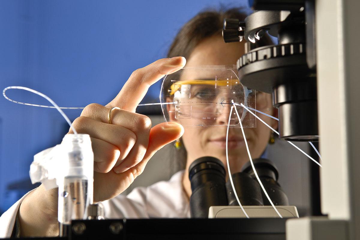 Photographie sur la recherche scientifique en chimie. Commande du CNRS