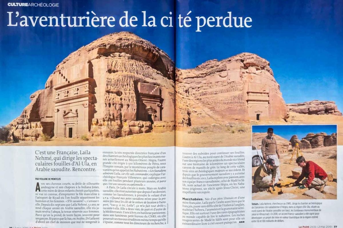Publication dans Le Point d'un article sur l'archéologue Laila Nehmé et les fouilles à Hégra dans la région d'Al Ula en Arabie Saoudite