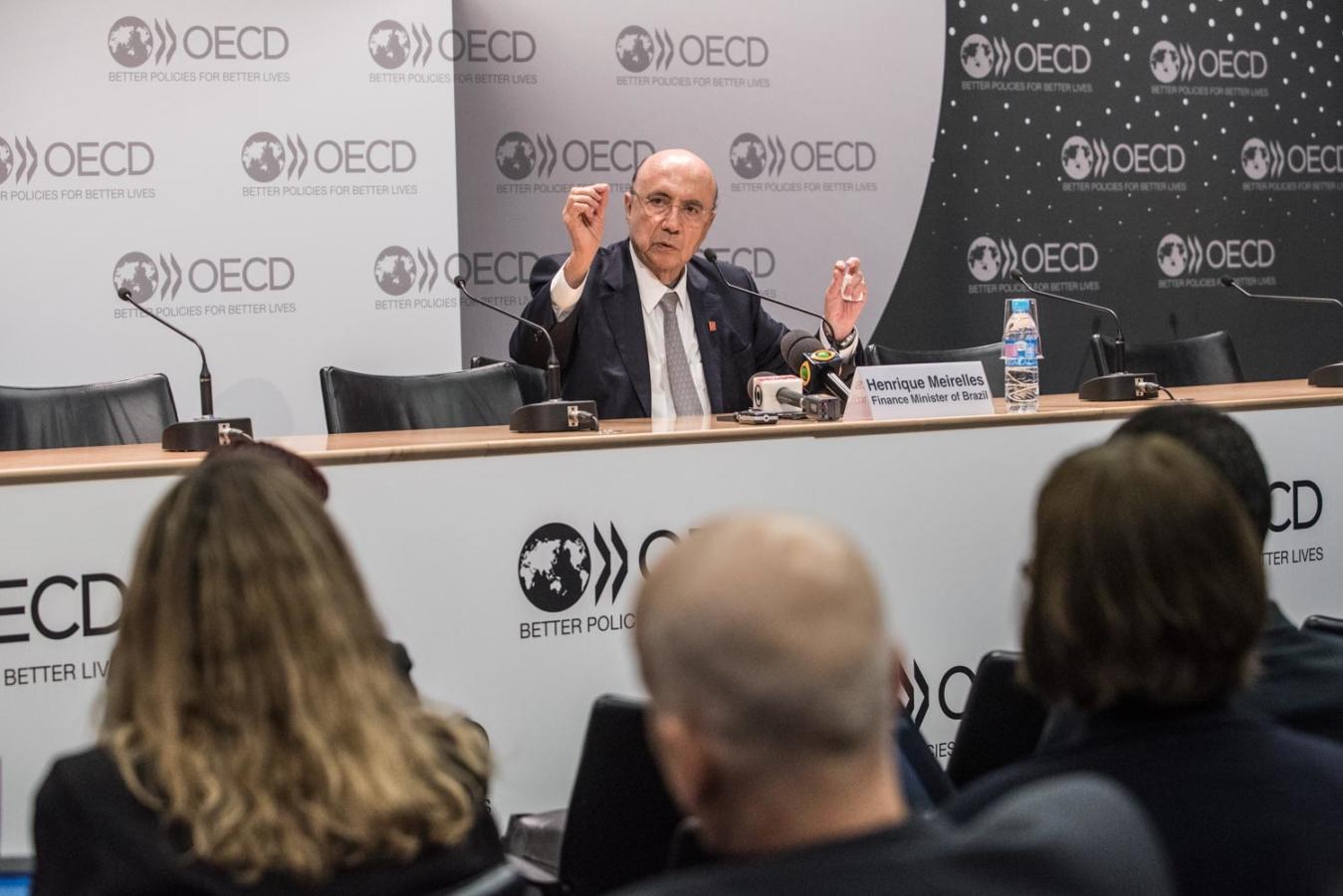 7 June 2017 - OECD Week – Press Briefing with Henrique Meirelles, Minister of Trade, Brazil.                           Photo: OECD/Hubert Raguet