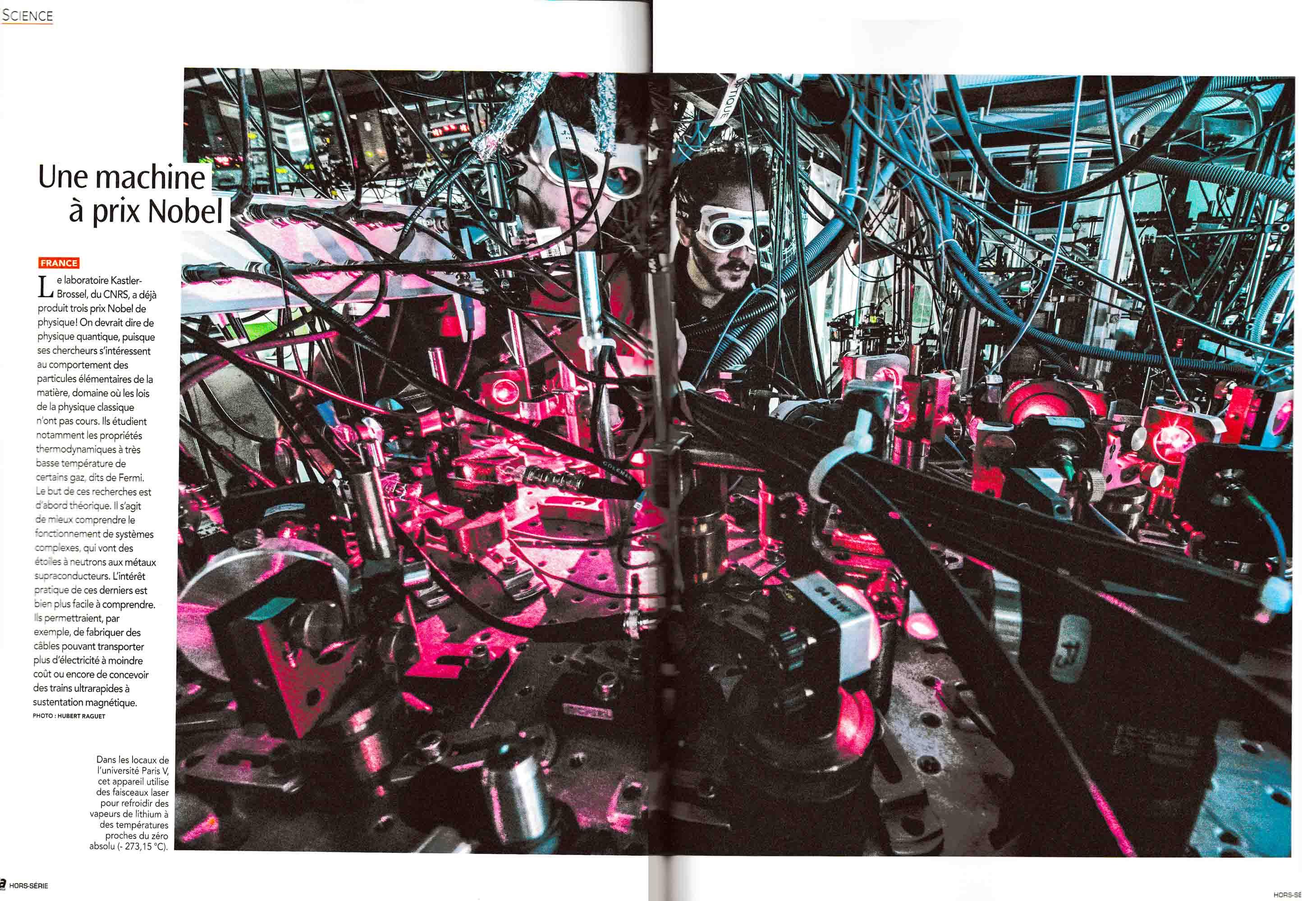 Parution dans Ca M'intéresse d'une photographie réalisée pour le CNRS au Laboratoire Kastler Brossel