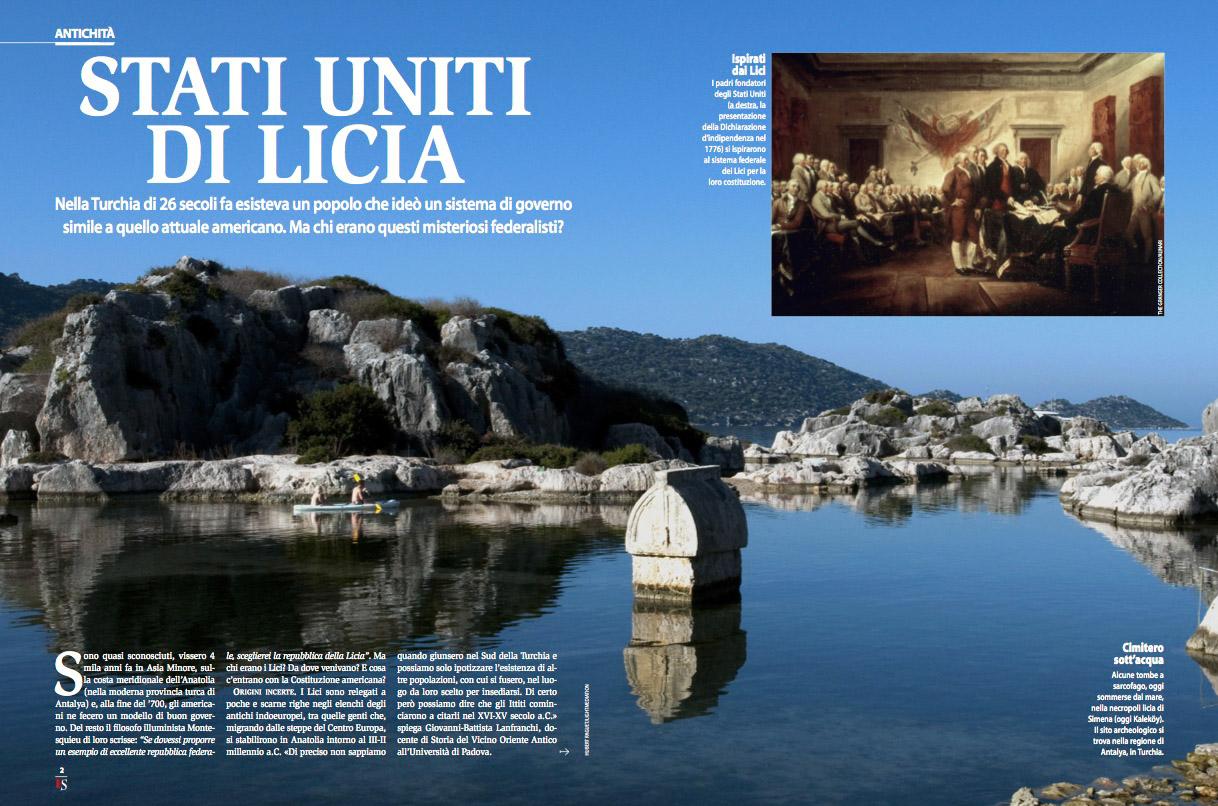 """Parution du reportage photographique """"La Lycie, berceau du fédéralisme"""" dans le magazine Italien Focus"""