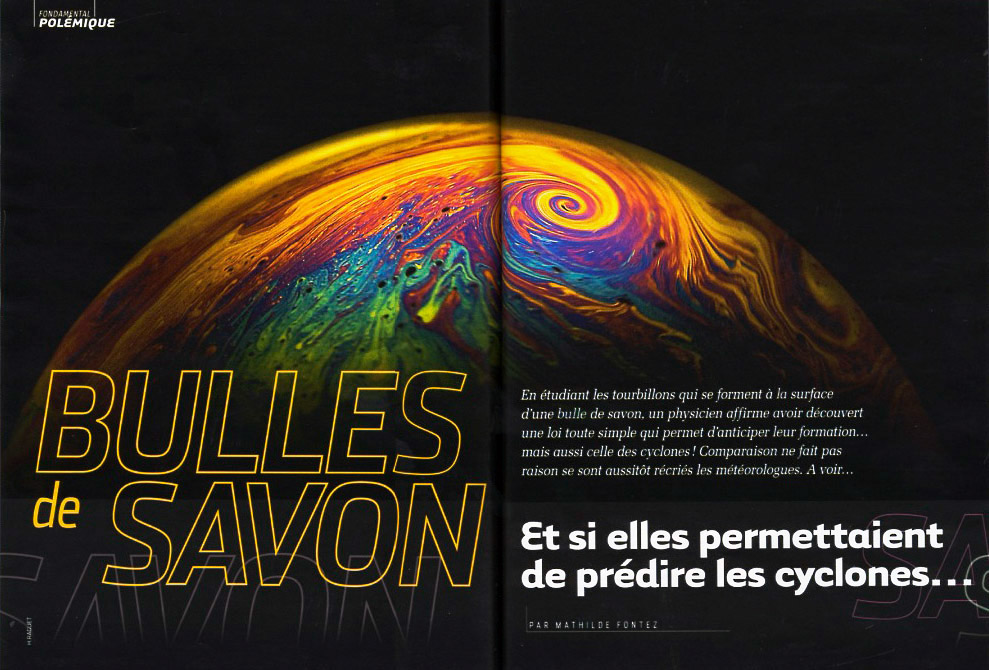 """Parution du reportage photographique """"Tempête dans une bulle de savon"""" dans Science et Vie"""