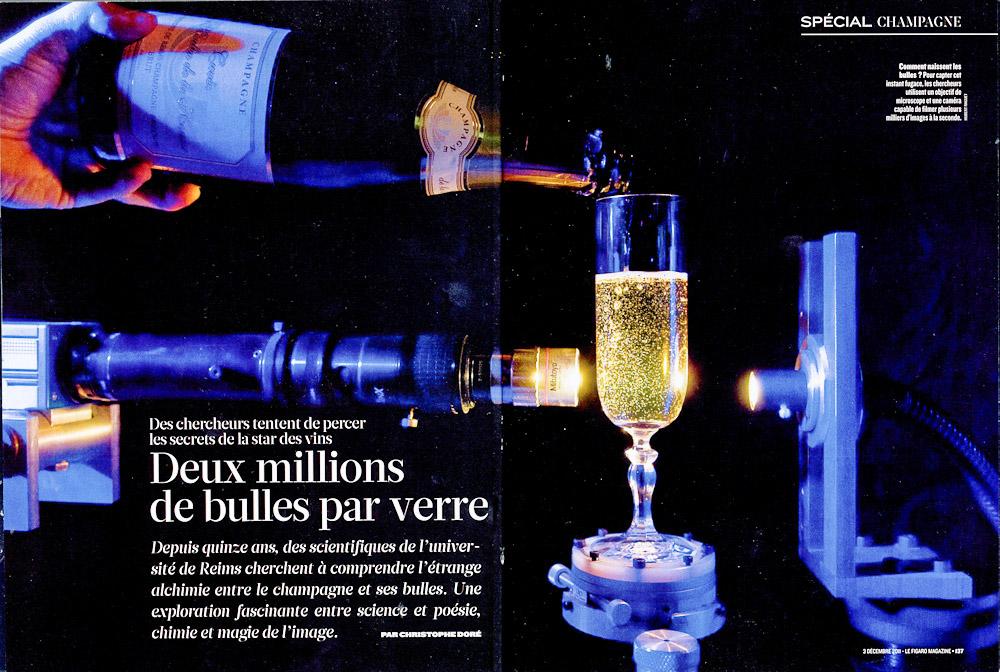 """Parution dans le Figaro Magazine du reportage """"Effervescience"""", la science du champagne."""