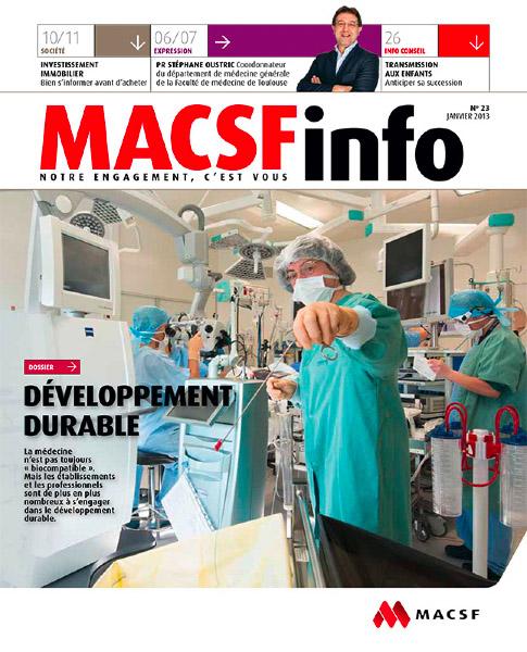 Publication dansla revue MACSF info d'un reportage sur le développement durable à l'hopital