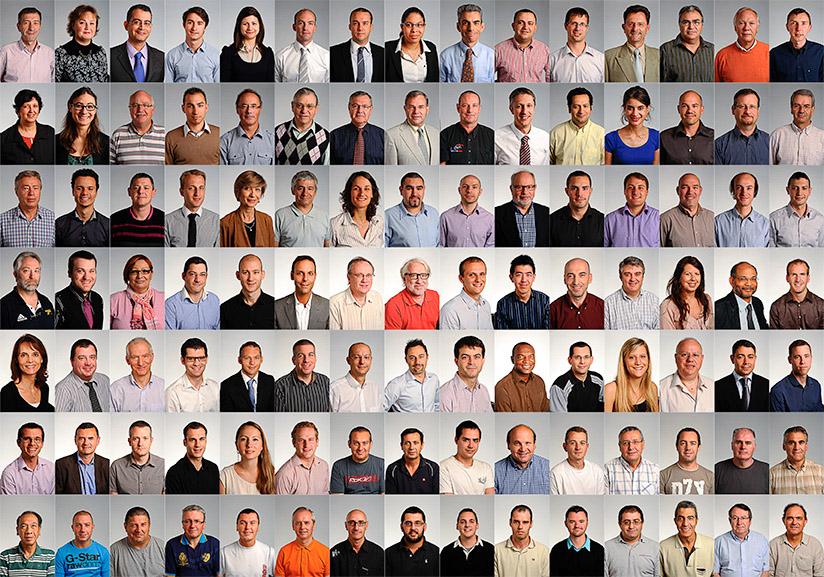 Réalisations de 1180 portraits (trombinoscope) pour l'équipementier aéronautique américain GOODRICH sur quatre sites industriels situés en région parisienne.