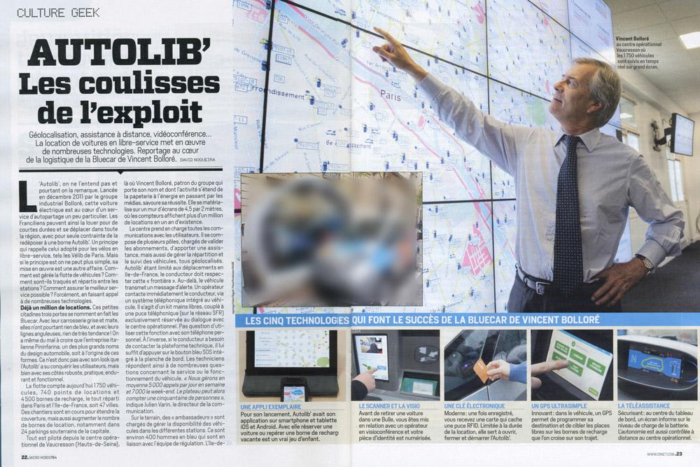 Ce reportage photographique a été été réalisé chez Bolloré au QG d'Autolib à Vaucresson pour le magazine Micro Hebdo.
